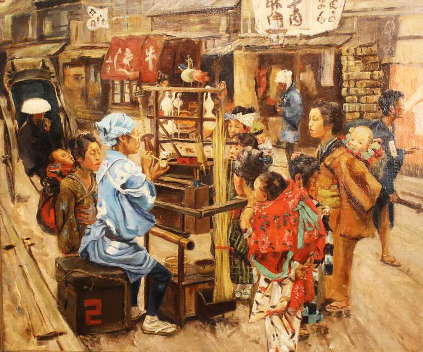 Chinese artist around 19th century street scene oil on canvas framed - photo 2