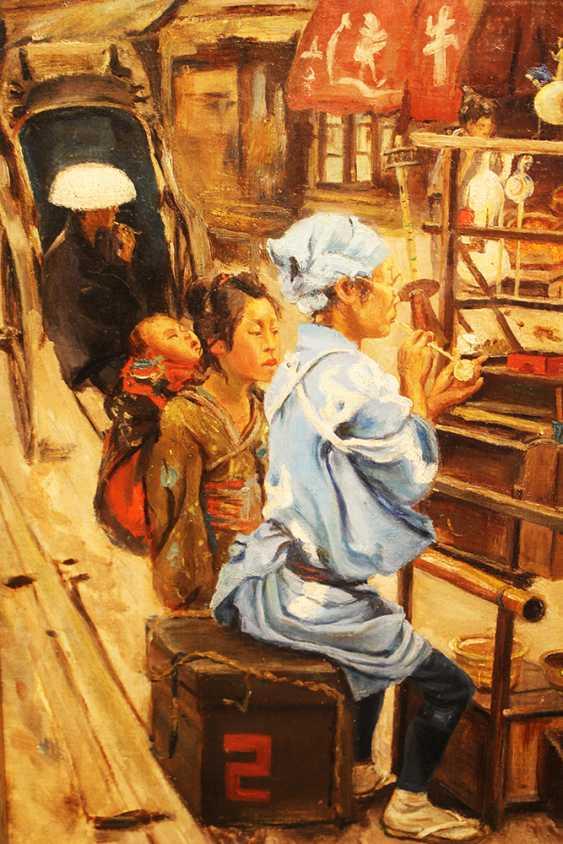 Chinese artist around 19th century street scene oil on canvas framed - photo 3
