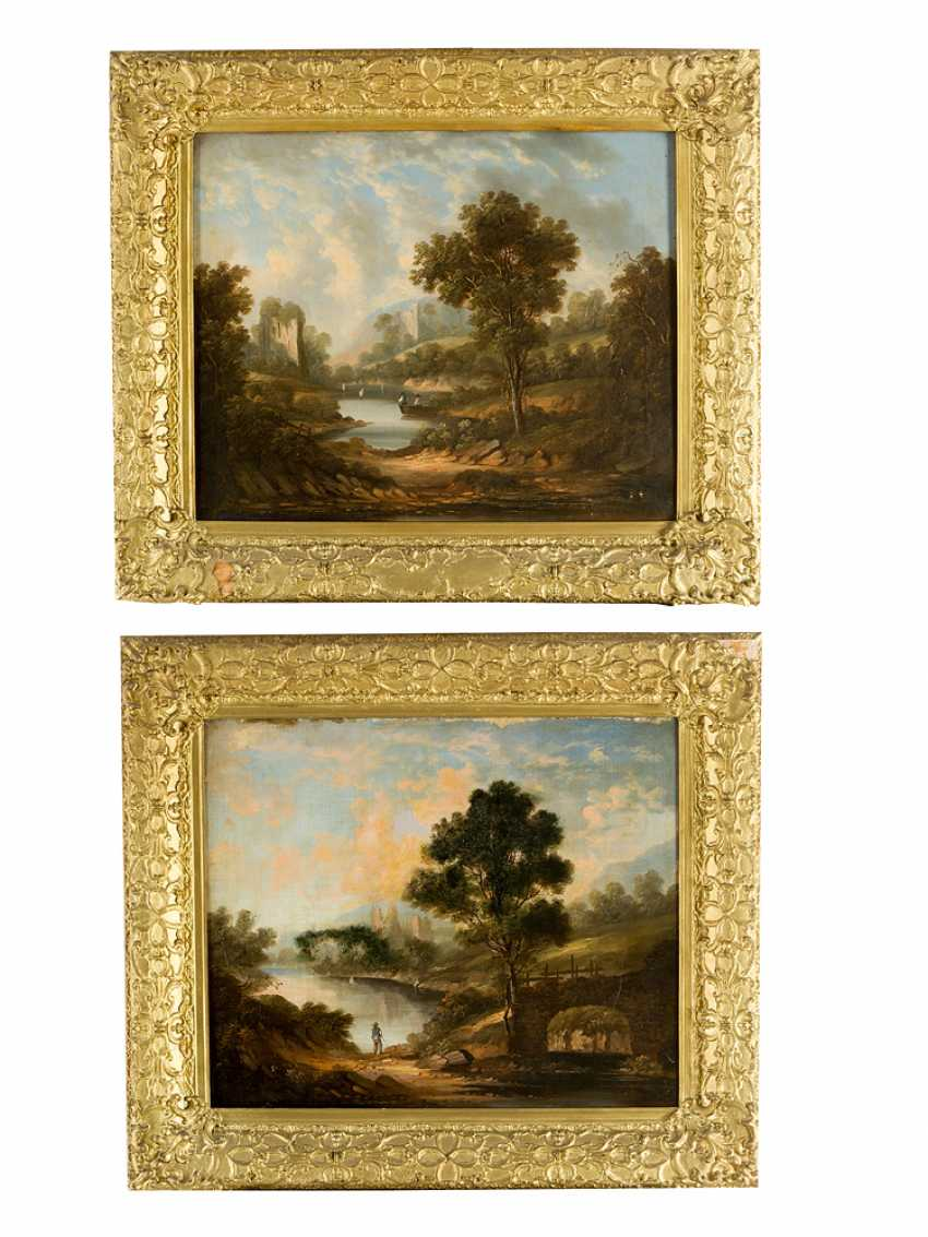 English school early 19th century pair of landscapes with farmers and monuments oil on canvas framed - photo 1