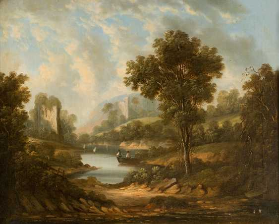 English school early 19th century pair of landscapes with farmers and monuments oil on canvas framed - photo 2