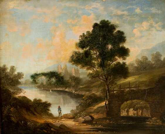 English school early 19th century pair of landscapes with farmers and monuments oil on canvas framed - photo 3