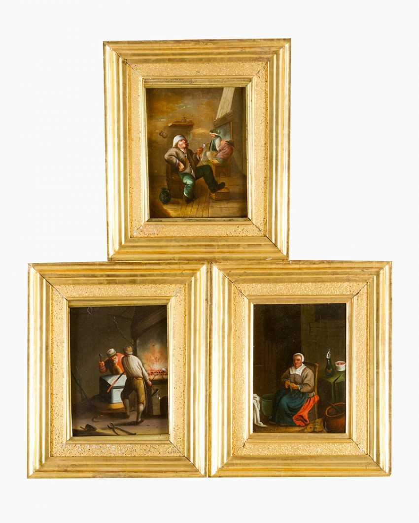 Three Dutch paintings of a smoker in tavern - photo 1