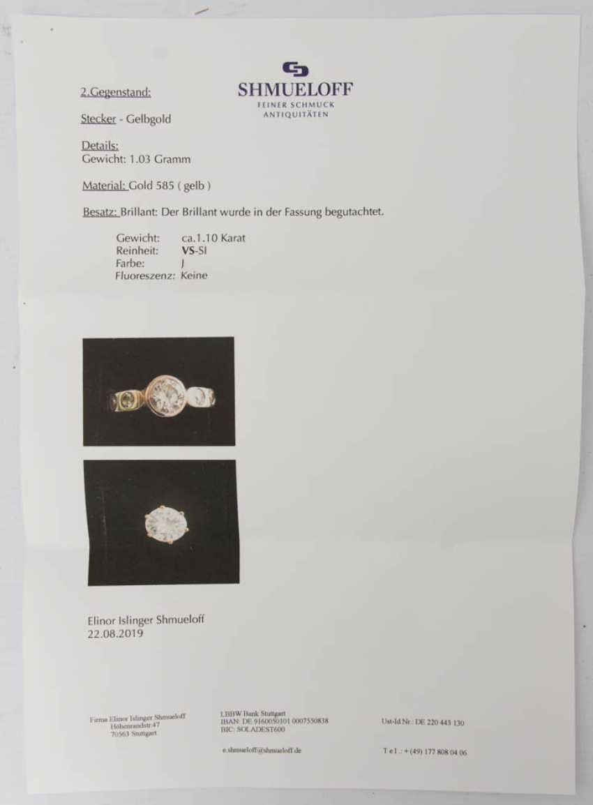 Plug, a 1.1-carat, 585 yellow gold, BRILLIANT. - photo 5
