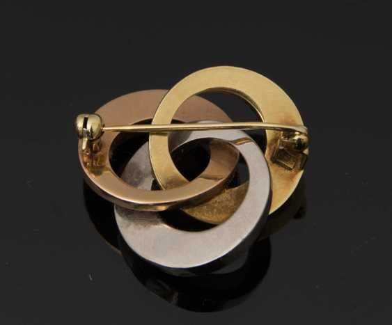 Gold brooch, 585 Yellow and white gold. - photo 2
