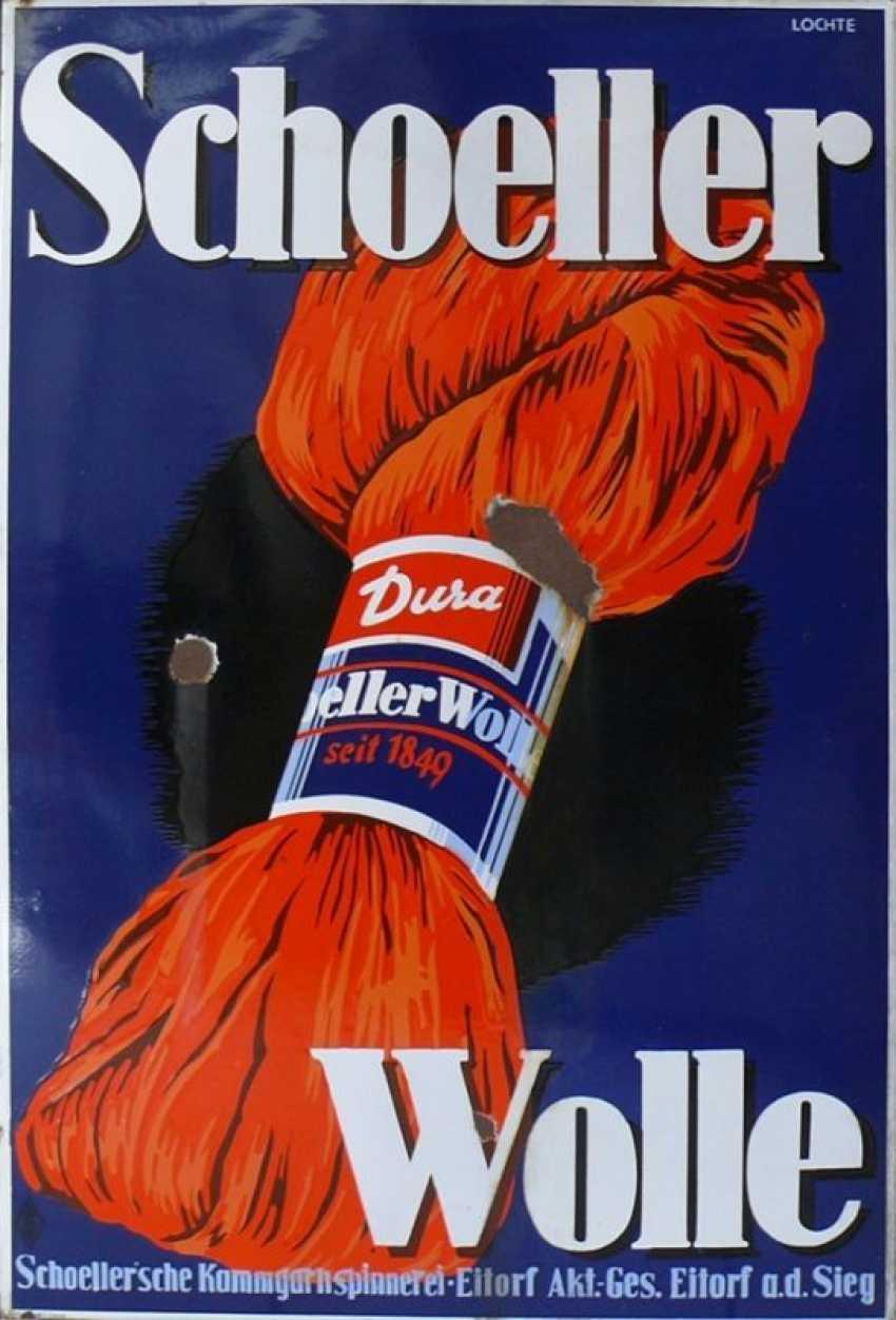 "Enamel Sign ""Schoeller Wool Dura"" - photo 1"