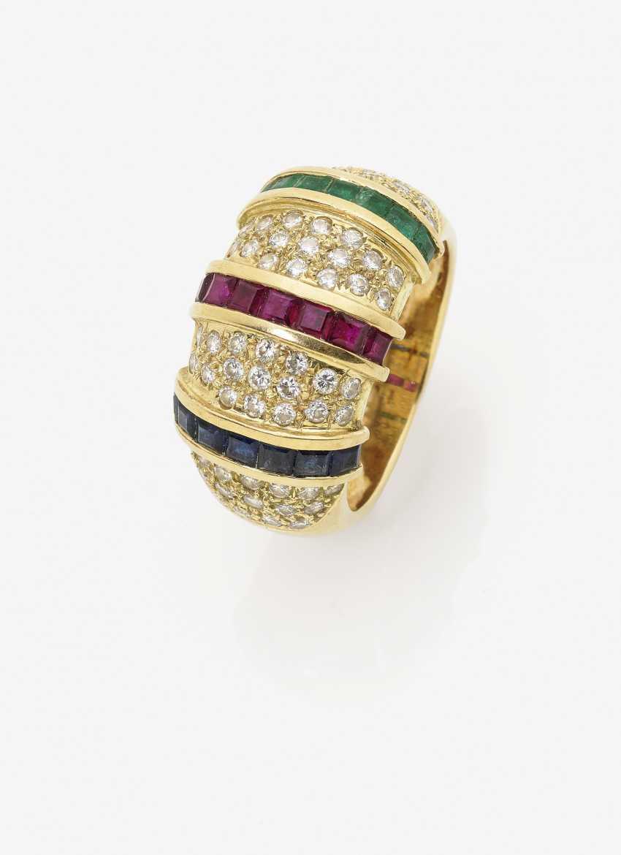 Кольцо с рубинами, сапфирами, изумрудами и бриллиантами - фото 1