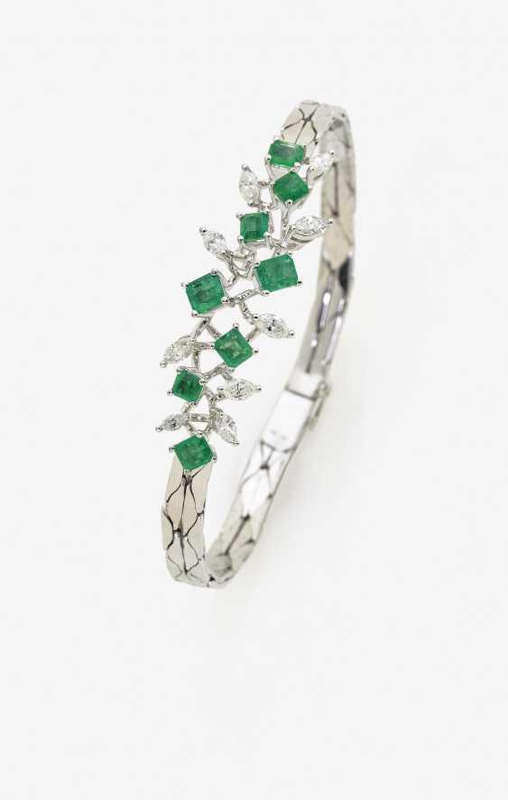 Звено браслета с изумрудами и бриллиантами - фото 1
