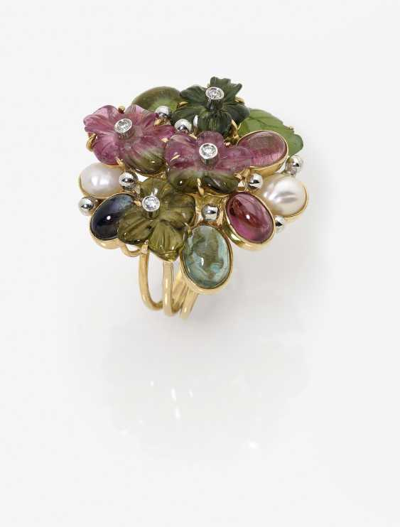 Цветки кольцо с турмалин, бриллианты, жемчуг, нефрит и сапфир - фото 2