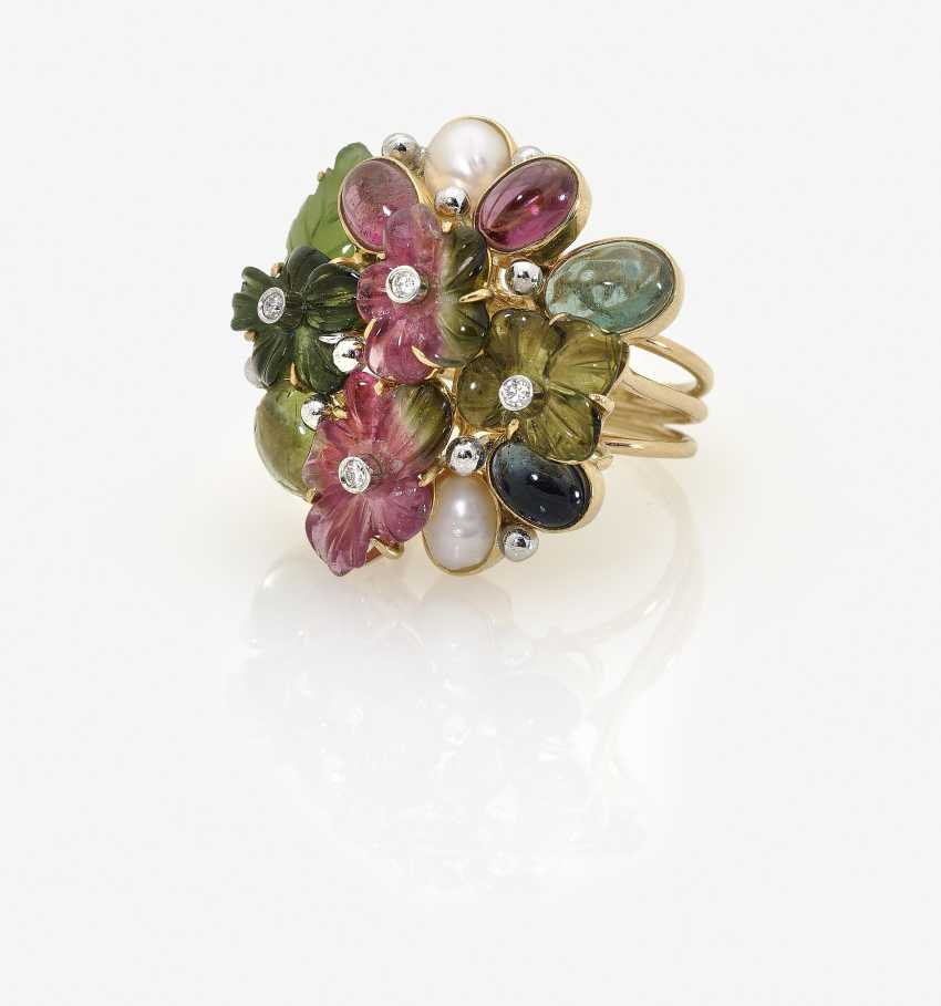Цветки кольцо с турмалин, бриллианты, жемчуг, нефрит и сапфир - фото 3