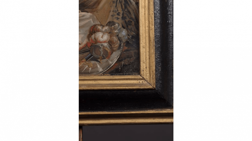 Pair of paintings under glass representing St. George slaying the Dragon and Saint Jerome - photo 3