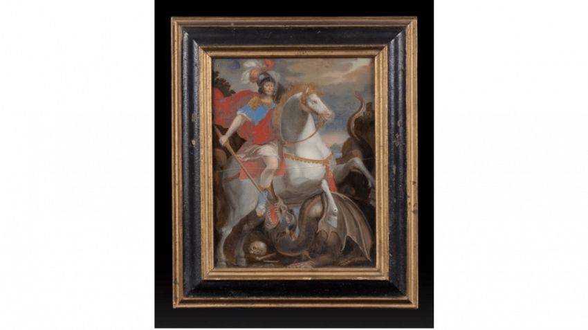 Pair of paintings under glass representing St. George slaying the Dragon and Saint Jerome - photo 1