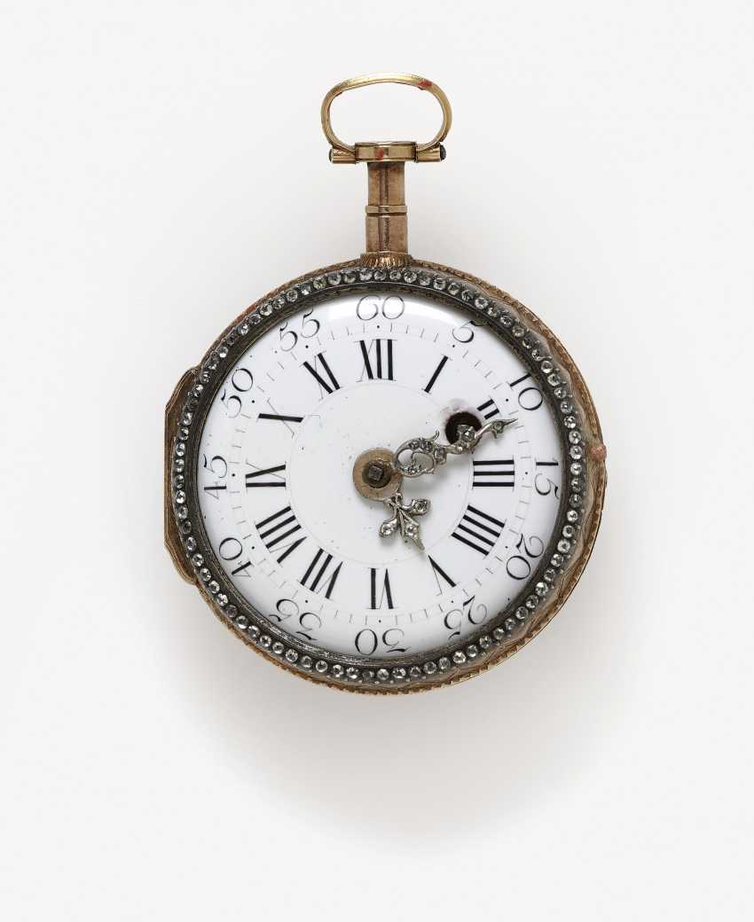 Ladies pocket watch with enamel miniature of a lady - photo 1