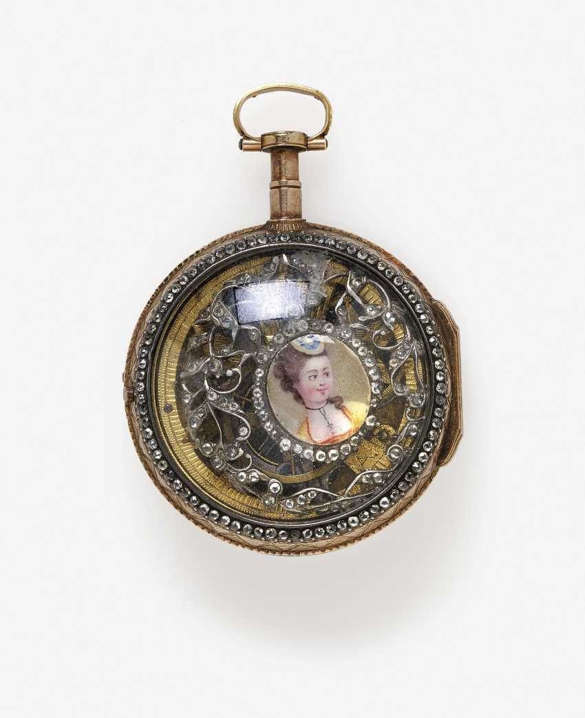 Ladies pocket watch with enamel miniature of a lady - photo 2