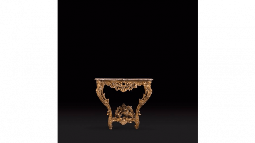 Small console in gilded wood façade and sides curved - photo 1