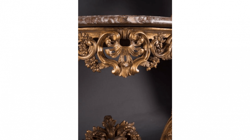 Small console in gilded wood façade and sides curved - photo 2