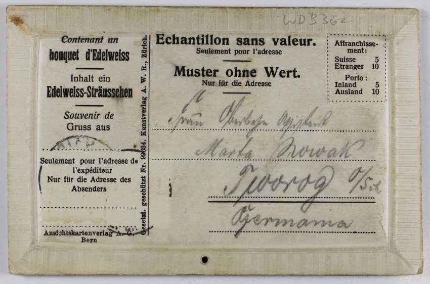 Свертки немецкой империи: сумка для документов военных лет 1914-1915 годов, память карта визит германского императора в Швейцарии с 1912 Эдельвейс-Sträusschen - фото 2