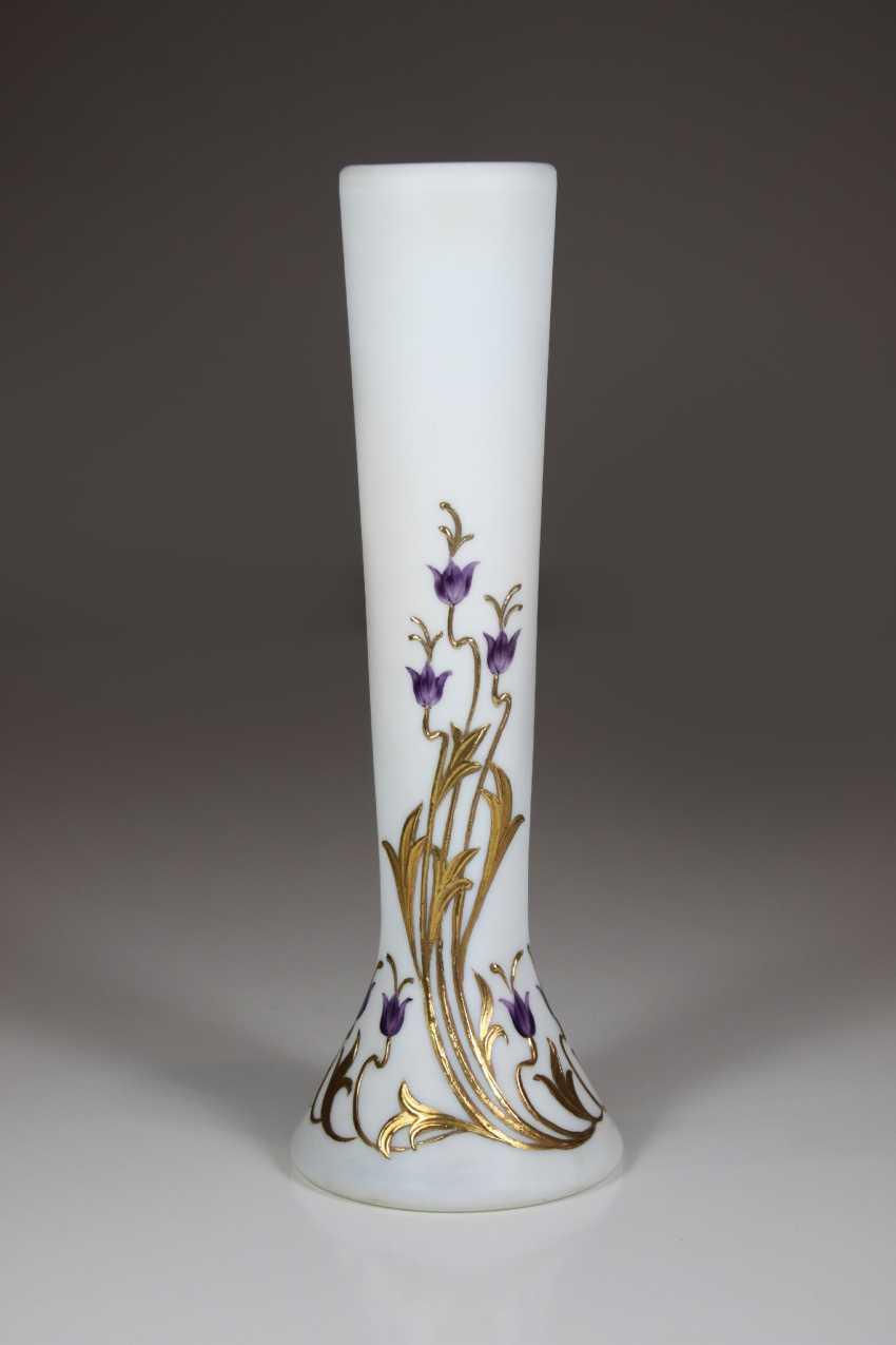 Art Nouveau Style Vase, Milk Glass - photo 1
