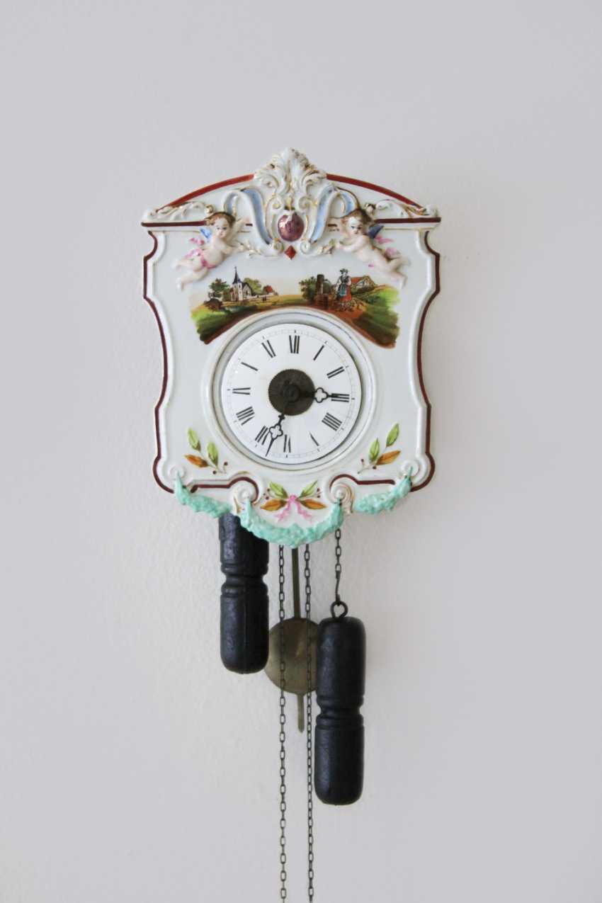 Porcelain Wall Clock Early 20's. Century, with original movement - photo 1