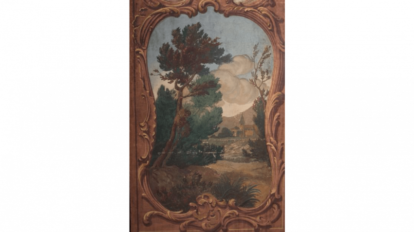 Screen canvas painted with five leaves decorated with landscapes lake in frame to the bypass to the decor of rocailles - photo 2