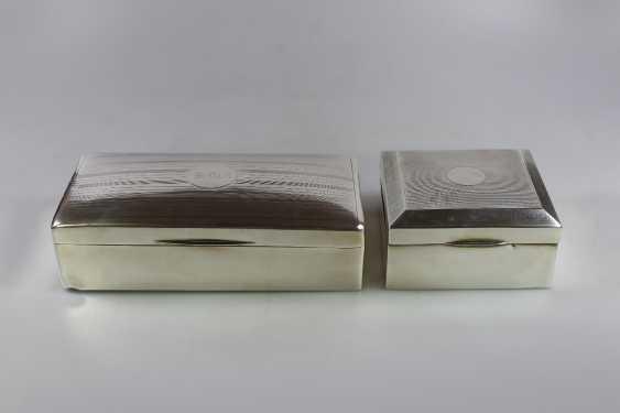 Paar Zigarettendosen, Silber punziert mit Holzkern - Foto 1
