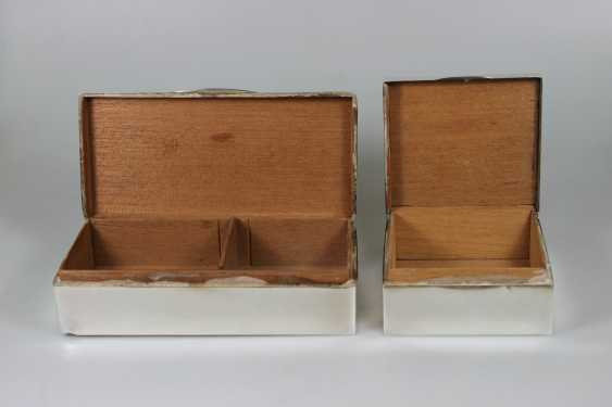 Paar Zigarettendosen, Silber punziert mit Holzkern - Foto 2