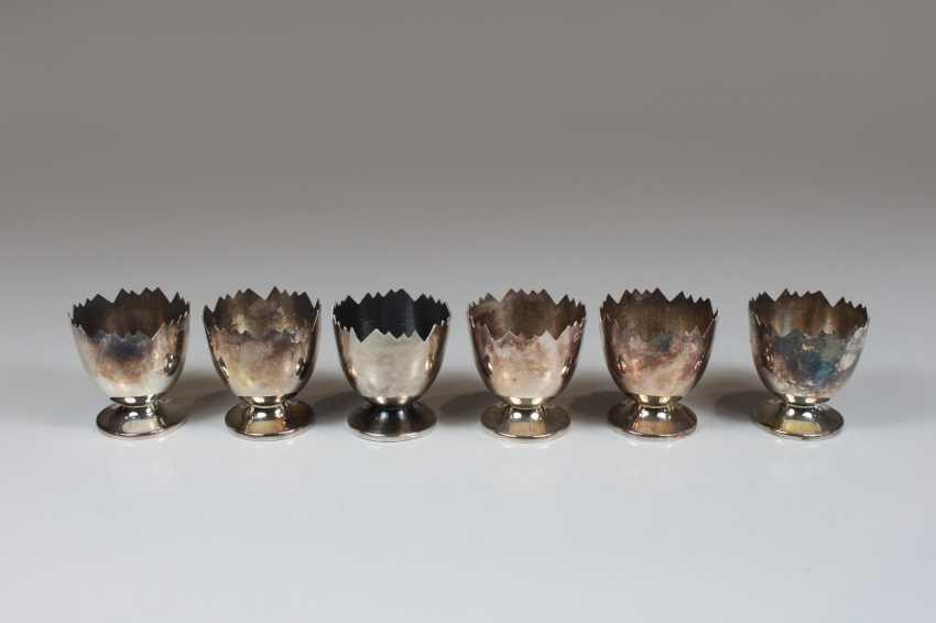 Sechs Eierbecher, Sterling Silber 925 - Foto 1