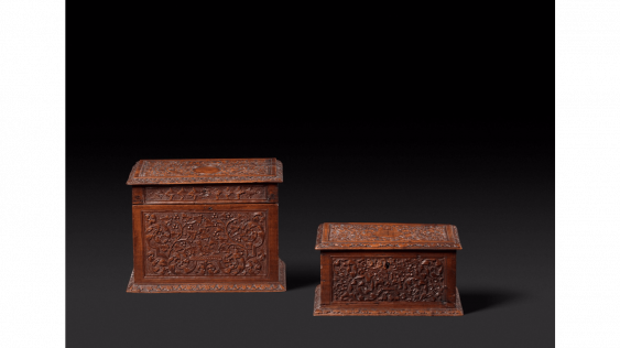 """Two boxes rectangular wooden of St Lucia, also known as the """"bois de Bagard"""" very finely carved cartridges for weapons - photo 1"""