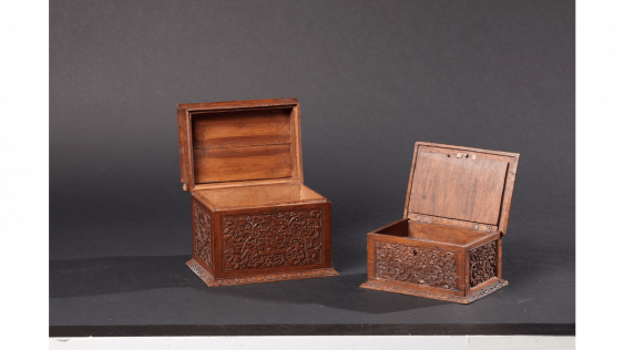 """Two boxes rectangular wooden of St Lucia, also known as the """"bois de Bagard"""" very finely carved cartridges for weapons - photo 2"""