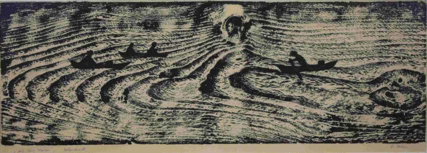 On the water, woodcut - photo 1