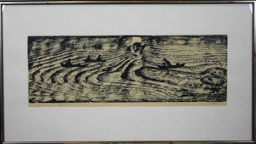 On the water, woodcut - photo 2