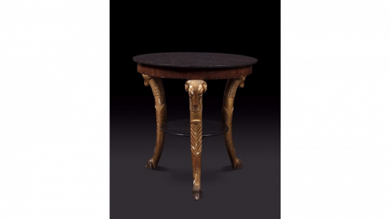 Circular Table in mahogany and gilded wood, the amounts in the protome of a ram - photo 1