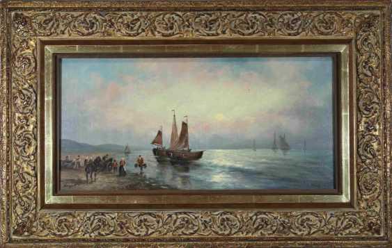 Английское побережье с рыбаками и парусных лодок, 20 век - фото 2