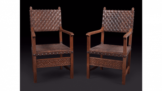 Work of the oak and woven leather - photo 1