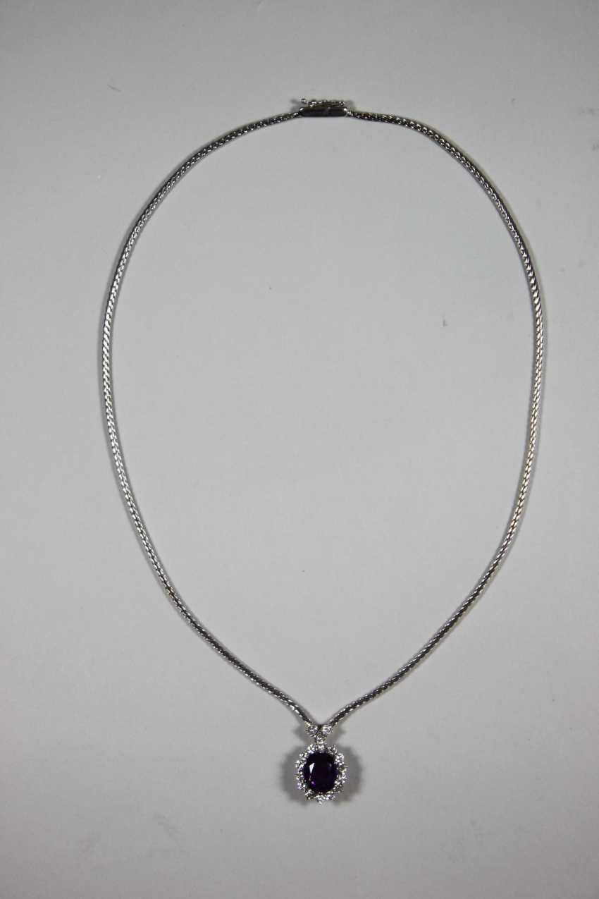 Chain with pendant, 585 white gold - photo 1