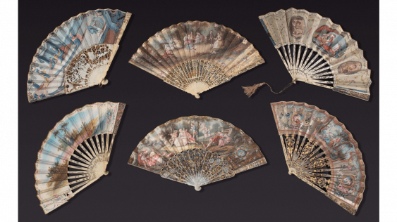 Six fans painted vellum and ivory silver-tone openwork decoration, silvered and gilded, representing scenes galantes and mythological. - photo 1