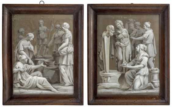 Pair of neoclassical silk paintings - photo 1
