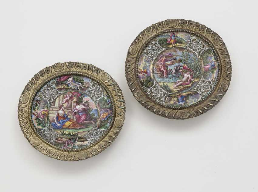 Two bowls with enamel painting , Augsburg, 1701 - 1705, Tobias Baur - photo 1