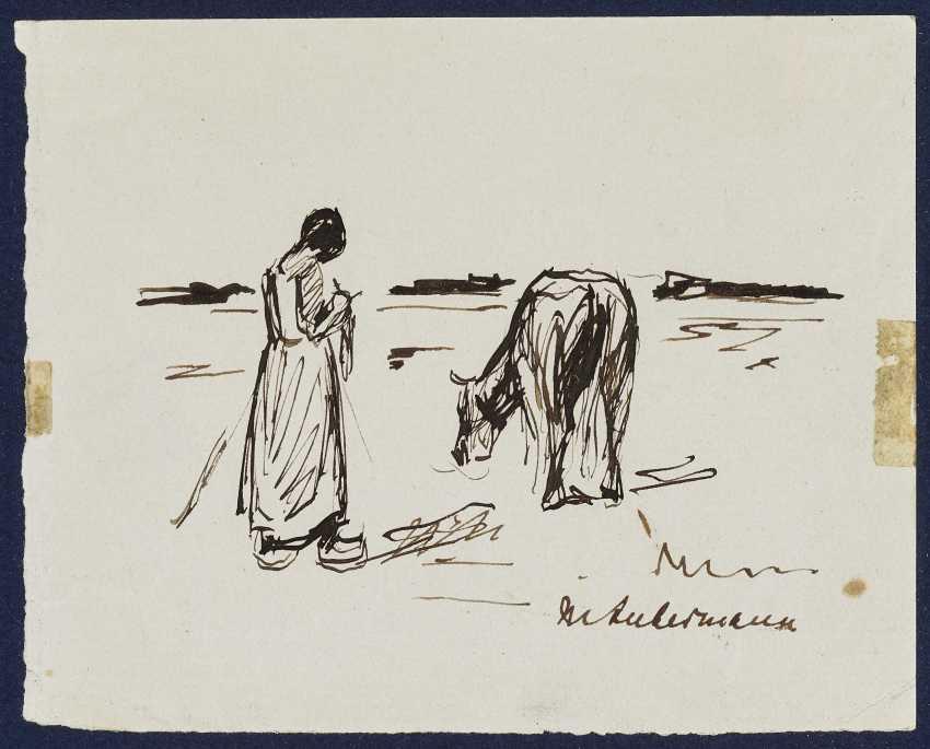Maid with cow , Liebermann, Max 1847-Berlin - 1935 ibid. - photo 1