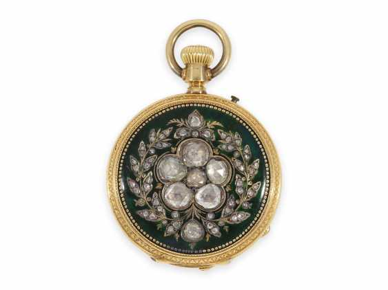 Pocket watch: unique and very precious Gold/enamel-Savonnette, with diamonds, made for the Ottoman Empire, CA. 1870 - photo 1