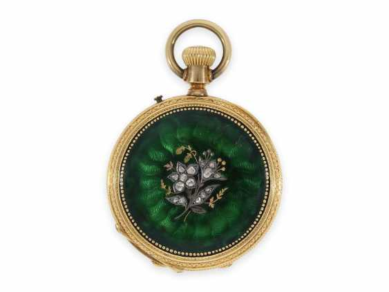 Pocket watch: unique and very precious Gold/enamel-Savonnette, with diamonds, made for the Ottoman Empire, CA. 1870 - photo 2