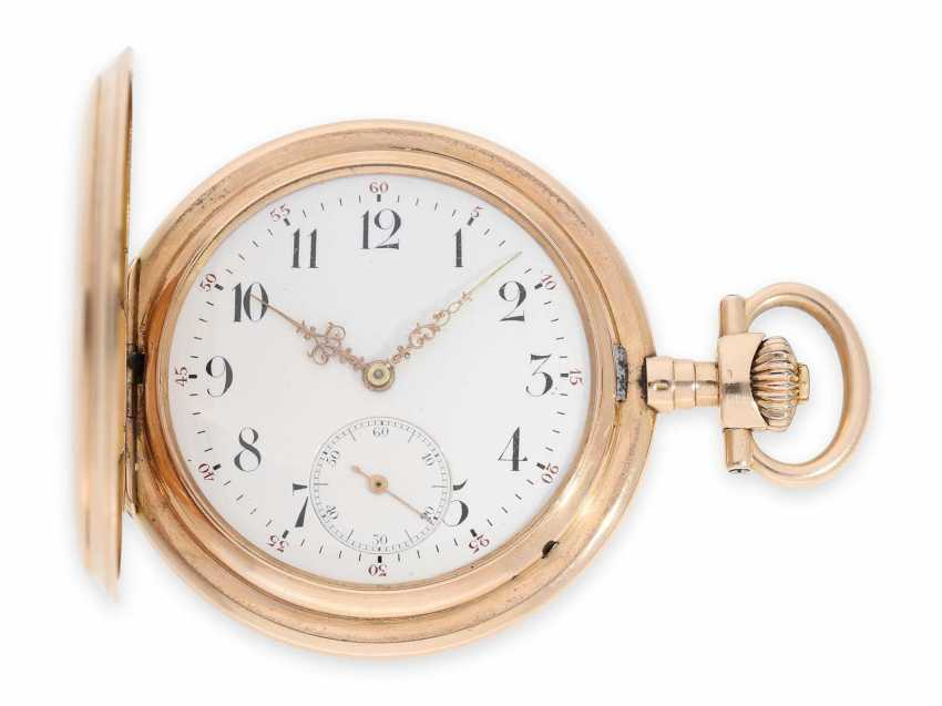 Pocket watch: rare, extra-large IWC Savonnette in rose gold, special caliber, CA. 1905 - photo 1