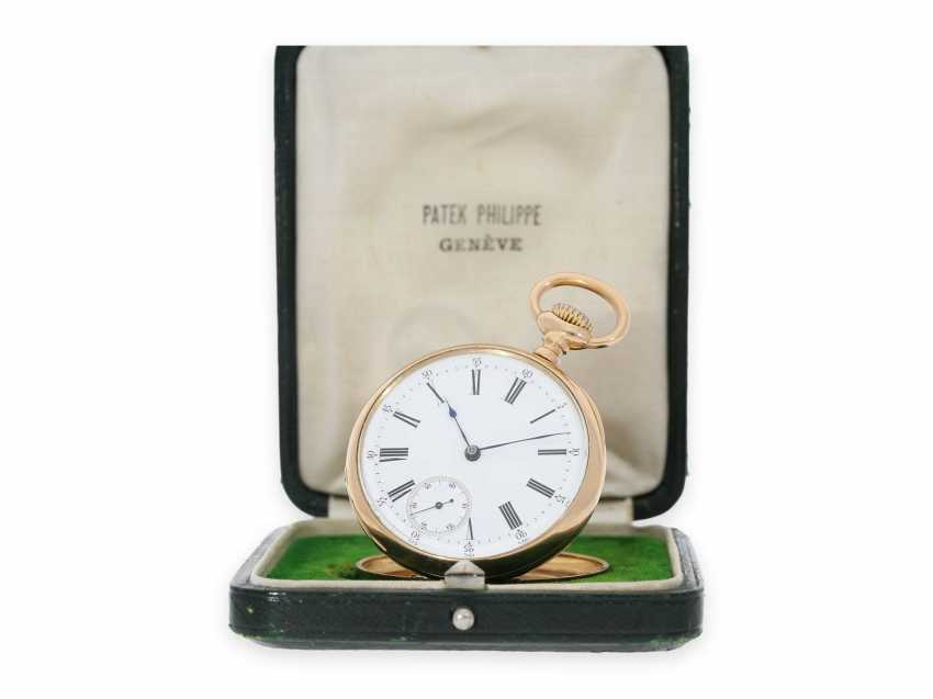 Pocket watch: elegant men's pocket watch by Patek Philippe with original box, Anchor chronometer, supplied to the chronometer-maker Rodanet in Paris, CA. 1885 - photo 1