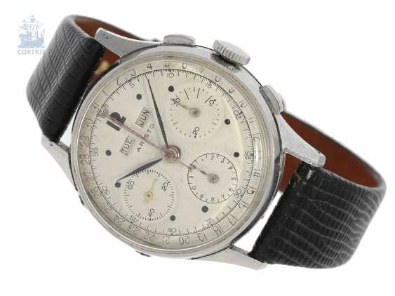 """Watch: very rare, large vintage stainless steel Chronograph with additional full calendar """"Aristo"""", Valjoux 72C, approx. 1950 - photo 1"""