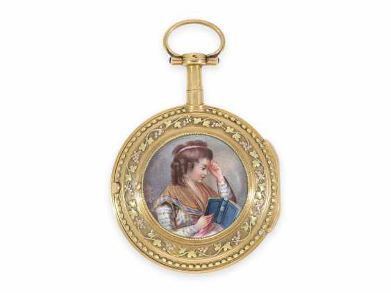Pocket watch: Gold/enamel Spindeluhr with the finest magnifying glass painting, excellent quality, Vaucher Paris No. 14066, CA. 1780 - photo 1