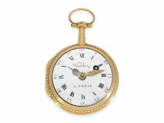Pocket watch: Gold/enamel Spindeluhr with the finest magnifying glass painting, excellent quality, Vaucher Paris No. 14066, CA. 1780 - photo 2
