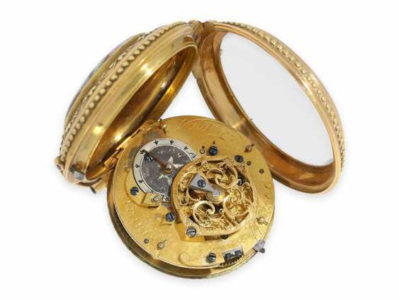 Pocket watch: Gold/enamel Spindeluhr with the finest magnifying glass painting, excellent quality, Vaucher Paris No. 14066, CA. 1780 - photo 3