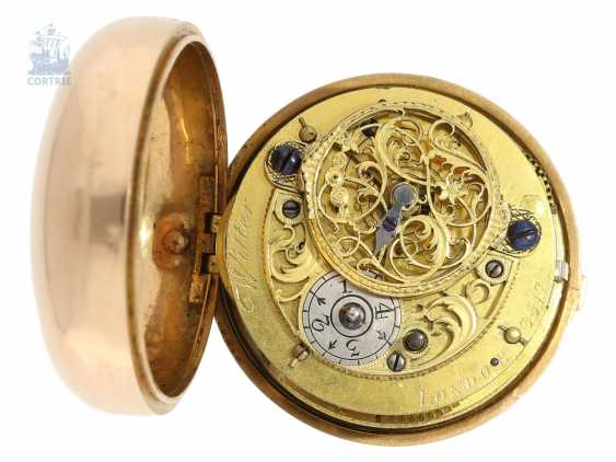 Pocket watch: rare large English repoussé technology-double housing-Spindeluhr, John Wilter London No. 3517, presumably for the German market, CA. 1750 - photo 2