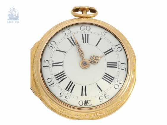 Pocket watch: rare large English repoussé technology-double housing-Spindeluhr, John Wilter London No. 3517, presumably for the German market, CA. 1750 - photo 5