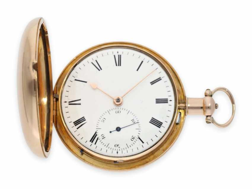 Pocket watch: extremely heavy gold-Savonnette with computing anchor escapement and seconds stop, Whitehurst & Son Derby No. 2563, Hallmarks 1810 - photo 1