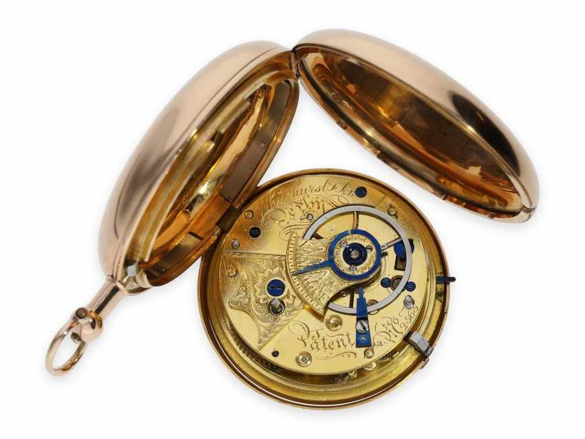 Pocket watch: extremely heavy gold-Savonnette with computing anchor escapement and seconds stop, Whitehurst & Son Derby No. 2563, Hallmarks 1810 - photo 2